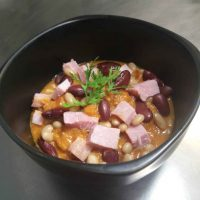 Pork and Ham Stew with mixed Beans
