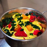 Roasted butternut squash, pepper & spinach Korma.